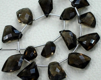 8 Inch-SUPERB-FINEST-AAA Quality Smoky Quartz Faceted Fancy Cut Briolettes,12-18mm size,aprx,Great Item
