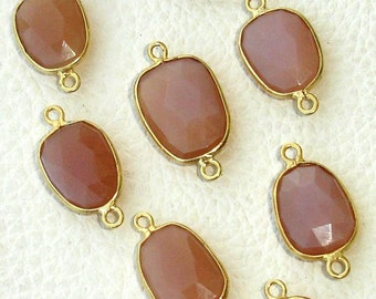 925 Sterling Silver, PEACH MOONSTONE, 24K Gold Plated Bazel Connector,ONE Piece of 12-16mm