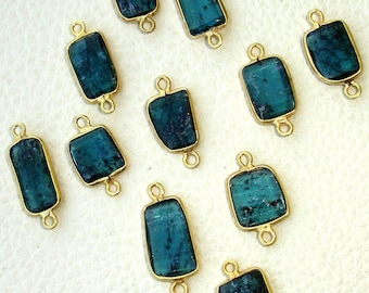 925 Sterling Silver, ROYAL MOSS KYANITE, 24k Gold Plated Bazel Connector,one Piece of 10-14mm