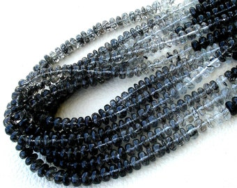 15 Inch Strand, Superb-BLACK RUTILATED Quartz Smooth Rondells, 7-8mm Long,Great Quality at Wholesale Price .