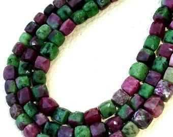 8 Inch Strand,Superb-Finest Quality RUBY ZOISITE Faceted 3D Box Shape Briolettes, 6-7mm size,Great Item