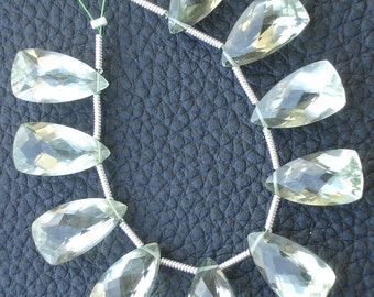 4 Matched Pair, GREEN AMETHYST Faceted Pyramid Shape Briolettes,15x8mm size.Superb Item at Low Price