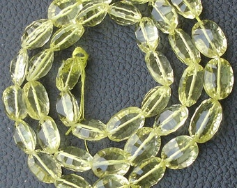 6 Inch Strand, GREEN LEMON Quartz CONCAVE Cut Oval Shape Briolettes Beads,10-12mm size,Superb Finest Item