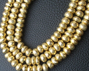 10 Inch Strand, GOLDEN PYRITE Faceted Larger Size Rondells,8-8.5mm size,Super Quality