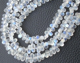 7 Inch Strand, BLUE FLASHY Rainbow Moonstone Faceted Drops Shape Briolettes, 7-8mm Size,Great Quality at Low Price