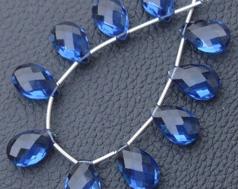 10 Pcs Set, KASHMIR BLUE Quartz Faceted PEAR Shape Briolettes, 14X9mm Long, 5 Matched Pairs,Superb Item,Wholesale Price