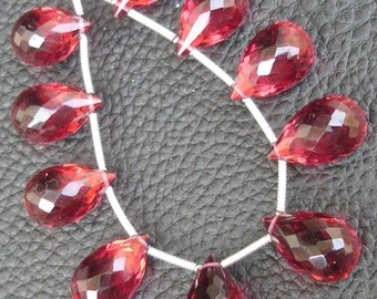 8 Pcs Set, RUBY RED Quartz Micro Faceted DROPS Shape Briolettes, 14X9mm Long, 4 Matched Pairs,Superb Item,Wholesale Price