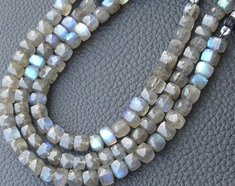 5x8 Inch Long Strand,Superb Blue FLASHY LABRADORITE Faceted 3D Box,7mm Size,Great Item at Low Price,reduces From 225