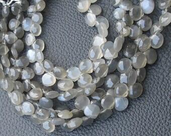8 Inch Long Strand,Superb-GREY MOONSTONE Faceted Heart Shape Briolettes, 7-8mm size,Superb Item
