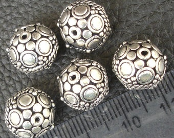 1 Piece,12x11mm Round Beads ,925 Sterling Silver,Jewellery Making Findings, Superb Finished Pieces.