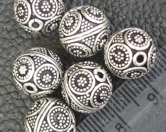 2 Pieces, 11.5x11.5mm Round Beads ,925 Sterling Silver,Jewellery Making Findings, Superb Finished Pieces.