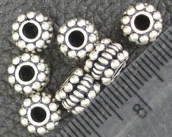 4 Pieces, 7.5x5.5mm Round Beads ,925 Sterling Silver,Jewellery Making Findings, Superb Finished Pieces.