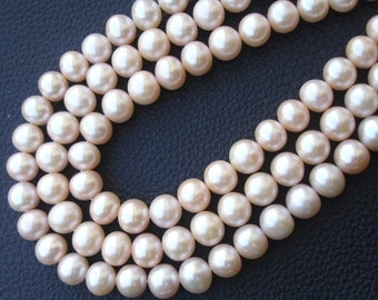 NEW Champagne Color,10mm Round, Full Strand,Truly Rare natural Fresh Water Pearl Smooth Round Balls Beads,Finest Quality at Low price