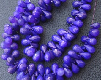 Brand New,7 Inches Strand, Rare Amethyst Purple Chalcedony Faceted DROPS Briolettes,9-12mm Long size,GORGEOUS.