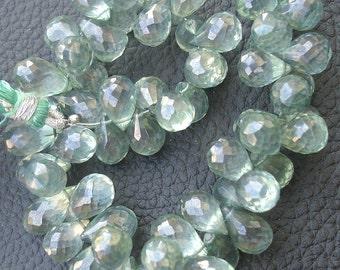 1/2 Strand Mystic MOSS AQUAMARINE Quartz Faceted Drops Shaped Briolettes, 9-11mm size, Fine Quality,Great Price Item