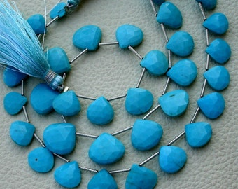 Sleeping Beauity, 1/2 Strand, 8-11mm Long, Natural Turquoise  Faceted Heart Shape Briolettes,Superb-Finest Quality