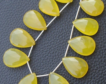 7 Inch Long Strand,SUPERB- Mango Chalcedony Faceted Pear Shape Briolettes,18-22mm Long.