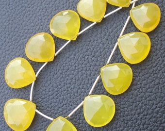 11 Pieces,SUPERB- Mango Chalcedony Faceted Heart Shape Briolettes,18-20mm Long.