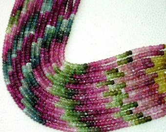 Latest Arrival, MULTI TOURMALINE,Full 14 inch Strand Of Manufacturer Price Rondells , Machine Cut Quality Full 14 Inch Long Strand