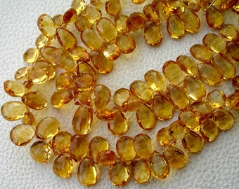 11-12mm Long,Brand New,GIANT Size, 8 Inch Strand, SUPERB Quality, Citrine Faceted LARGER Pear Briolettes,Super Fine Citrine Ever.