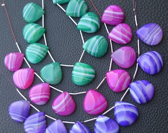 3  Strands,Superb Quality Smooth PURPLE-PARROT-RED Chalcedony Smooth Heart Shape Briolettes,17-18mm size,Gorgeous