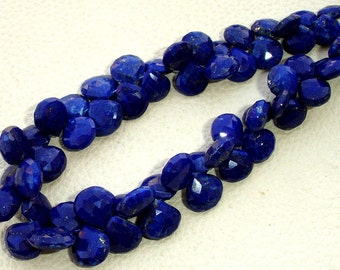 6 Inch Strand, Lapis Lazuli Faceted Heart Briolettes,(Size 7-9mm approx),Great Quality at Low Price
