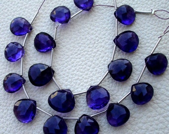 7 Inch Strand,Giant Size, AFRICAN AMETHYST Faceted Heart Shape Briolettes, size of 10-12mm long,Superb Quality.
