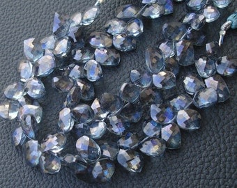 New Stock, 7 Inch Strand Mystic PARAIBA BLUE Quartz Faceted Fancy CURVED Leaf Shape Beads, 10mm Long,Manufacturers Price