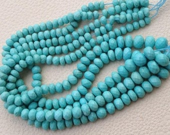 AAA Quality RARE Turquoise, 4 Inch Strand, 5-6mm Long, Natural Turquoise  Faceted Rondells,Superb-Finest Quality.