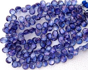 Brand New, Full 8 Inch Strand, MYSTIC Tanzanite Blue Quartz Faceted Pear Shape Briolettes,9-10mm,Great Price