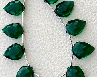5 Matched pairs, EMERALD Green Quartz Faceted fancy Shape Briolettes,14X10mm Size,Finest Item