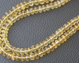 Finest CITRINE, Full 8 Inch Strand Micro Faceted Rondells,6-6.5mm, Super Quality Citrine Rondells