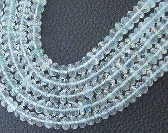 8 Inch Strand,6-7mm,SUPERB-Quality,Full Strand, BLUE Aquamarine Micro Faceted Rondells,Brand New Stock