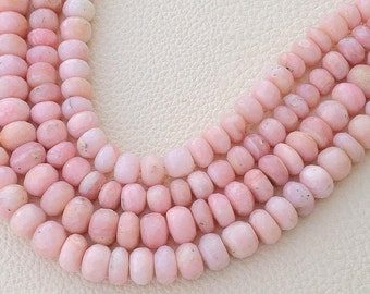 Full 8 Inch Long Strand,Very-FINEST- Peruvian Pink Opal Faceted Rondells, 7-8mm Size,GORGEOUS Item