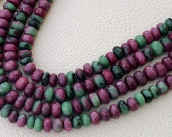 Gorgeous Quality, Full 8 Inches Long Strand, Aprx, 8-8.5mm Size RUBY ZOISITE Faceted Roundelles Finest Quality Wholesale Price