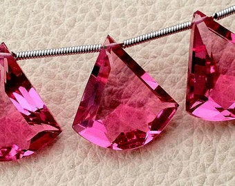 New Arrival 3 Pieces Set AAA NEW PINK Quartz Faceted Fancy shaped Briolette,16-18mm Long, (Extremely Beautiful set