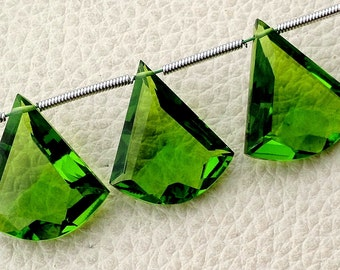 New Arrival 3 Pieces Set AAA PARROT GREEN Quartz Faceted Fancy shaped Briolette,16-18mm Long, (Extremely Beautiful set