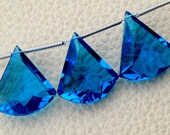New Arrival 3 Pieces Set AAA SWISS BLUE Quartz Faceted Fancy shaped Briolette,16-18mm Long, (Extremely Beautiful set