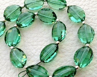 8 Inch Full Strand, Amaazing New GREEN Quartz Faceted Ovals Nuggets, 9-12mm size,Finest Cut and Polished
