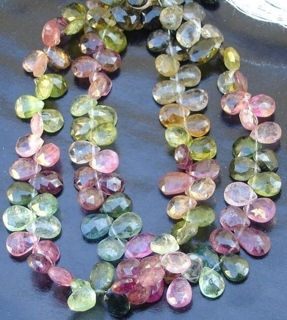 1/2 strand Multi Tourmaline faceted PEAR briolettes 6-7mm ,Very Low Price of Nice Item