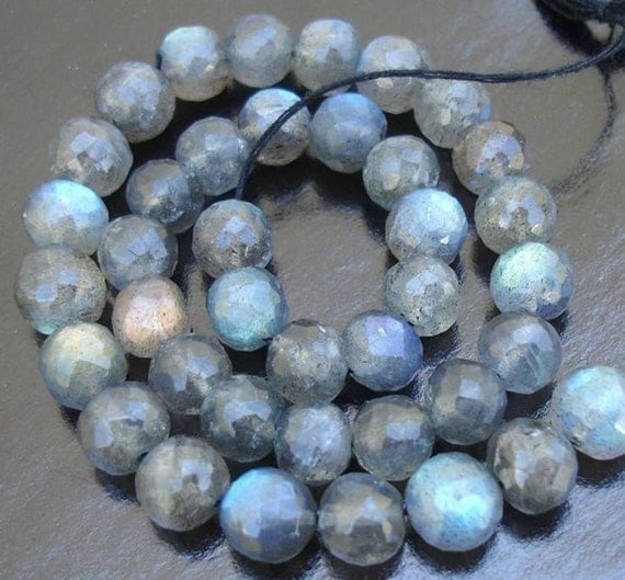 6-7MM Size, 8 Inch Strand OF RARE Blue flashy Labradorite Faceted Round Balls Beads,Fine Quality at Low Price