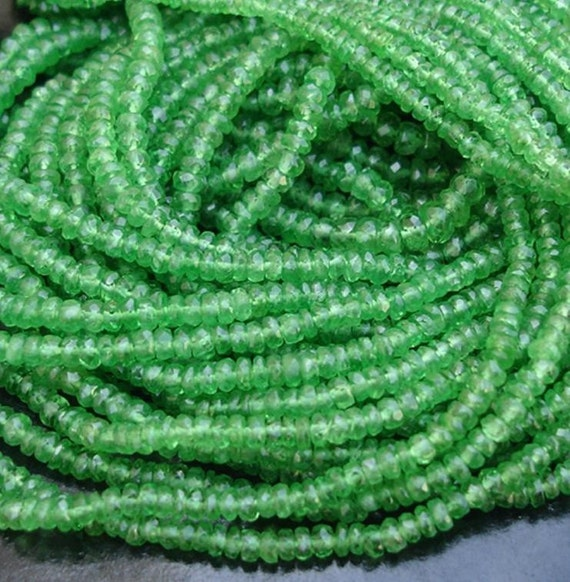 RARE,Bright Emerald Green AAA Tsavorite Garnet faceted rondelles 9 inches 2.5 -3.5MM Gorgeous