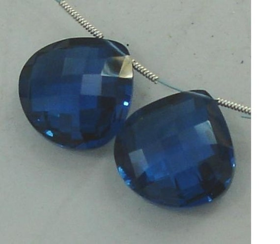 18X18mm, One Matched Pair LONDON BLUE Quartz, Truly Rare Heart Shaped Briolettes,Amazing Matched Pair