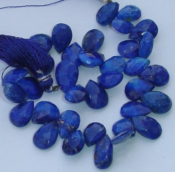 25 Pieces of Finest Quality Lapis Lazuli Faceted PEAR Shaped Briolettes Larger Size (Size 12 to 14mm approx),.