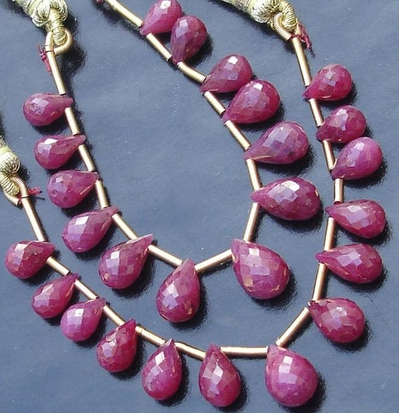 New Arrival, Dyed Natural RED Ruby, Faceted DROPS Shape briolettes,15 Pieces. 8-10mm Long,Nice Item