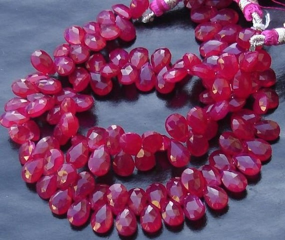 7 Inches Strand, Rare Ruby Red Chalcedony Faceted Pear Briolettes,9-10mm Long size,GORGEOUS.