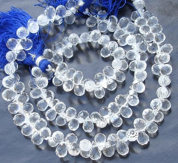 7 Inch Long Strand, Rock CRYSTAL Quartz Micro Faceted Drops Shaped Briolettes, 8-9mm Long size,GORGEOUS