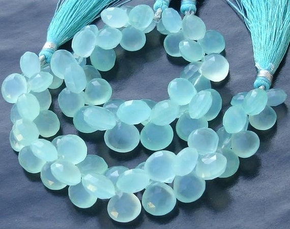 6 Inches Strand, Peru Aqua. Blue Chalcedony Faceted HEART Briolettes,11-12mm Long size,GORGEOUS.