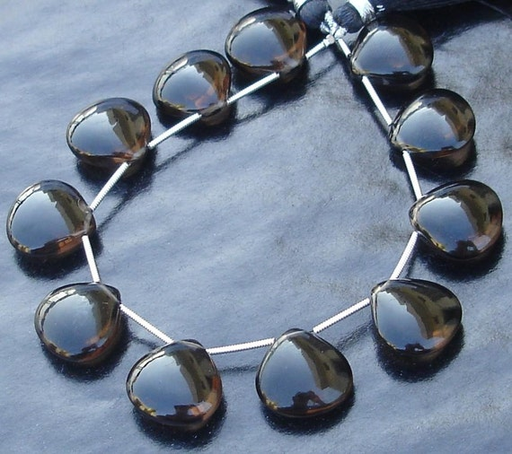 4 Matched Pair, AAA Quality 16X16mm, Smoky Quartz Smooth Heart Shape Briolettes, Gorgeous Item.