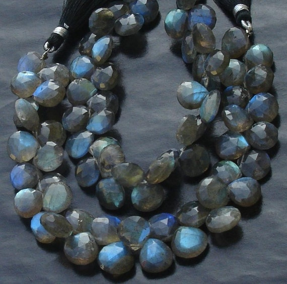 6 Inch Long Full Strand, Blue Flashy Labradorite Faceted HEART Shaped Briolettes, 7-8mm Long size,Promotional Price Item